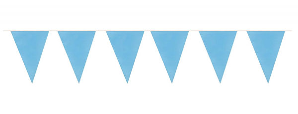 Light Blue Plastic Pennant Bunting 10m